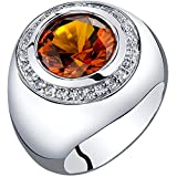Mens 6 Carats Created Cognac Sapphire Signet Ring Sterling Silver Size 12