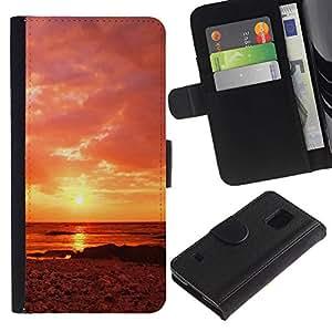 iBinBang / Flip Funda de Cuero Case Cover - Sunset Beautiful Nature 63 - Samsung Galaxy S5 V SM-G900