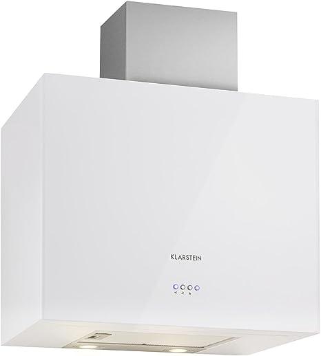 KLARSTEIN Cuboo Campana extractora de Humo (Capacidad absorción hasta 340 m³/h, 3 Niveles Potencia, iluminación LED integrada, Forma cúbica, Poco Ruido, Frontal Blanco): Amazon.es: Grandes electrodomésticos