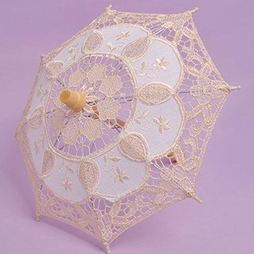 monque Umbrella Wedding Cloth Art Floral Bridal Summer Parasol Vintage Cotton Bamboo Bridesmaid Lace ()