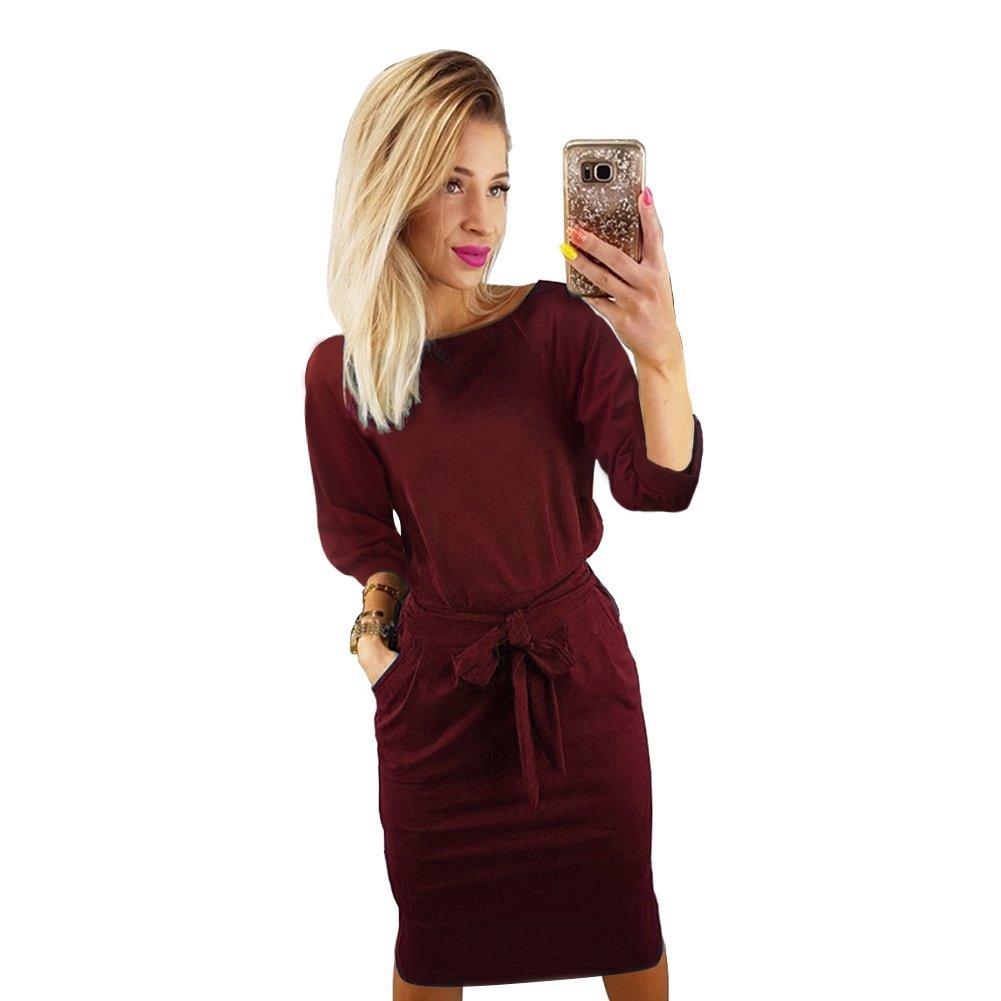 TALLA M(ES 38). Longwu Vestido de Manga Corta Elegante de Las Mujeres para Trabajar el Vestido Ocasional del lápiz con la Correa Vino Rojo(manga de Soplo) M(ES 38)