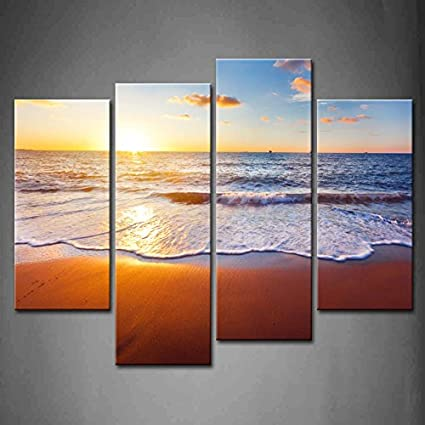 35464efca09 4 Panel Wall Art Sunset And Beach With Sea Wave Painting The Picture Print  On Canvas