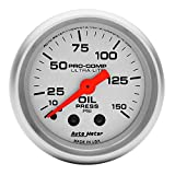 "Auto Meter 4323 Ultra-Lite 2-1/16"" 0-150 PSI Mechanical Oil Pressure Gauge"