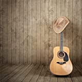 Yeele Guitar Photo Backdrop 5x3ft Cowboy Hat Retro Brown Wooden Plank Old Wood Wall Hardwood Pictures Western Style Baby Adult Artistic Portrait Photo Shoot Props Photography Background Wallpaper