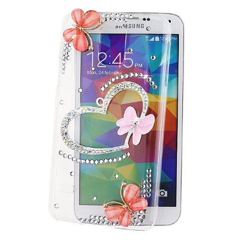 Ancerson 3D Handmade Luxury Shining Glitter Crystal Diamond Rhinestones Hard Back Case Cover for Samsung Galaxy S5 mini (Not for S5) Free with a Red Stylus Touchscreen Pen, a 3.5mm Universal Crystal Diamond Rhinestones Bling Lovely Silvery Flower Blue Panda Pendant Dust Plug and a Cleaning Cloth (Transparent Clear) (Pink Bow Bowknot Love Heart Pink Golden Butterfly)