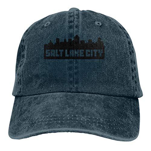 - Unisex Baseball Cap Salt Lake City Utah Skyline Washed Jean Cabbie Cap for Men Navy