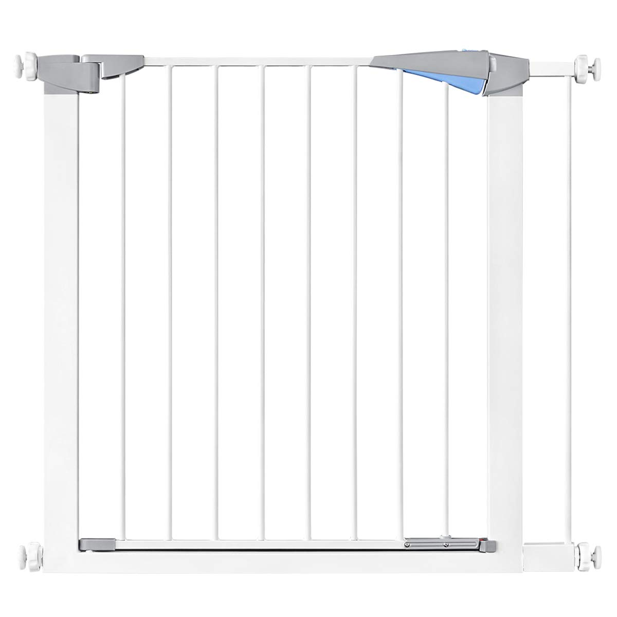 31.8 Auto Close Safety Baby Gate, Extra Wide Walk Thru Dog Gate with Pressure or Hardware Mount for Stairs, Doorways and Hallways, Includes 2.7 Extension Kits, White