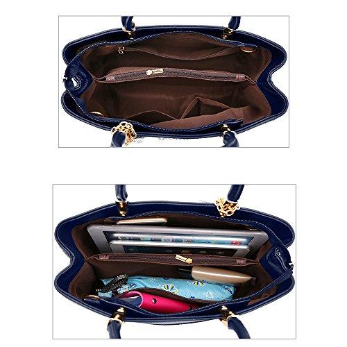 Bags Dark Blue Handbags Leather Bags Women Tote Ladies Shoulder Handle PU Top Black2 for Clutch Designer Snfwqva