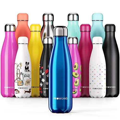 Proworks Botellas de Agua Deportiva de Acero Inoxidable | Cantimplora Termo con Doble Aislamiento para 12 Horas de Bebida Caliente y 24 Horas de Bebida Fria - Libre de BPA - 1L - Azul Metalizado