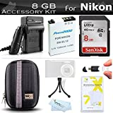 8GB Accessories Kit For Nikon Coolpix S9900, A900, S9700, S800c S6300 S6200 S8200 S9300 S6100 S8000 S8100 S9100 S9200, AW130 Camera Includes 8GB High Speed SD Memory Card + Replacement EN-EL12 Battery + Charger + Case ++