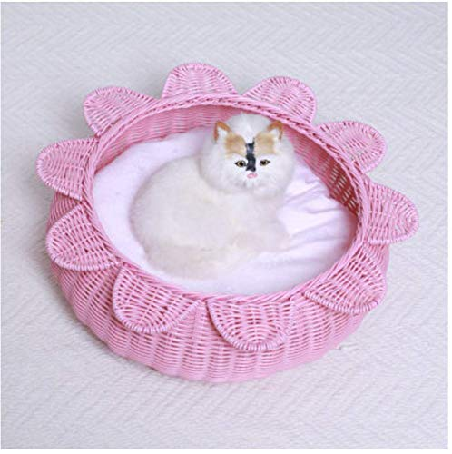 MARIS Rattan Cat Litter Summer Washable Small Pet Nest Cat House Small Dog Kennel,Pink  35  18  35CM