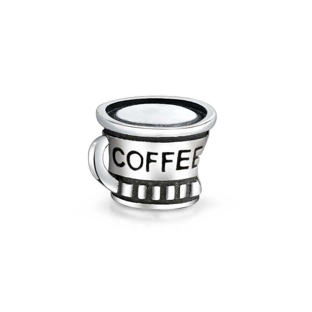 Bling Jewelry Coffee Cup Charm Bead .925 Sterling Silver PBX-HS-315DARKEN