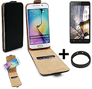 TOP SET: Caso Smartphone para Wiko Highway cubierta del estilo del tirón 360°, negro + anillo protector, cubierta del tirón - K-S-Trade (TM)