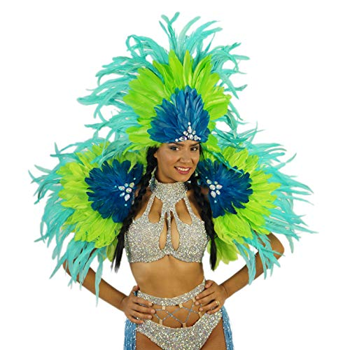 Feather Brazil Carnival Costume Samba Wing Set - Blue/Green Mardi-Gras Rio Parade Wear