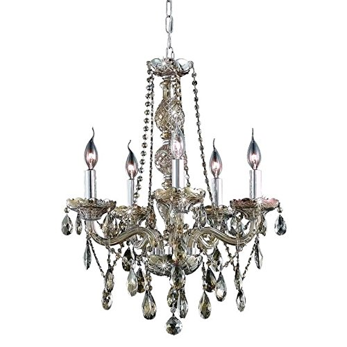 Elegant Lighting 7955D21GT-GT/RC Royal Cut Smoky Golden Teak Crystal Verona 5-Light, Single-Tier Crystal Chandelier, 8.5