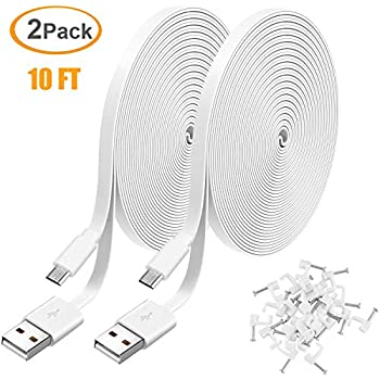 3 Pack 26FT Power Extension Cable for WyzeCam,WyzeCam Pan,KasaCam Indoor,NestCam Indoor,Yi Camera USB to Micro USB Durable Charging Cord for Security Camera with Wire Clips Blink Black