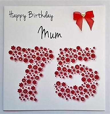 Tarjeta del feliz cumpleaños - mamá 75 rojo inopinadamente ...