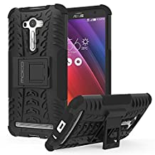 ASUS Zenfone 2 Laser Case - MoKo Heavy Duty Rugged Dual Layer Armor with Kickstand Protective Cover for ASUS Zenfone 2 Laser (ZE550KL / ZE551KL) 5.5 Inch Smartphone 2015 Release, BLACK