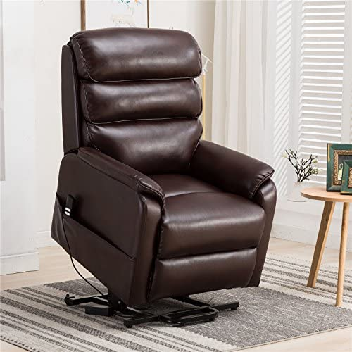 Irene House Dual Motor Lays Flat Electric Power Lift Recliner Chair for Elderly Comfortable Breath Leather ,Soft and Sturdy Red Brown Leather