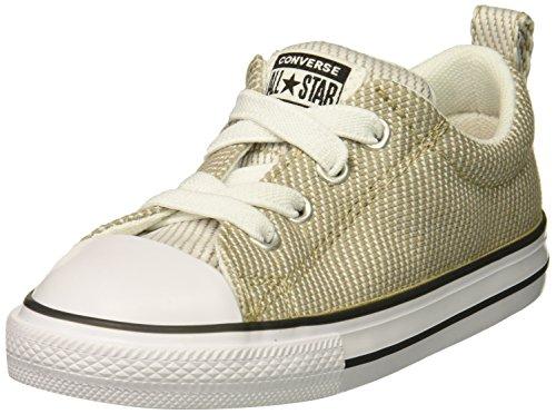 Converse Boys' Street Woven Canvas Slip on Sneaker, Vintage Khaki/Dolphin/White, 6 M US Big (Khaki Canvas Footwear)