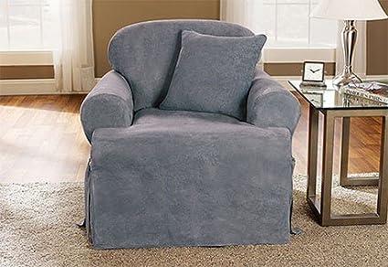 Amazon Com Soft Suede One Piece T Cushion Chair Slipcover Smoke