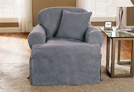 (Soft Suede One Piece T-Cushion Chair Slipcover smoke Blue)