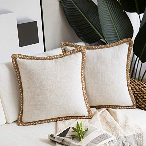 Phantoscope Pack of 2 Farmhouse Decorative Throw Pillow Covers Burlap Linen Trimmed Tailored Edges Off White 18 x 18…