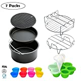 Air Fryer Accessories for Power, Gowise, Philips Universal Deep Fryers, Pan, Racks, Silicone Mat Egg Bites Mold, Muffin Makers, Fit All 3.7QT – 7 Inch(7 Packs)