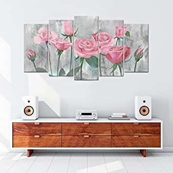 Visual Art Decor 5 Panel Flowers Wall Decor Retro Pink Rose Painting Picture Printed on Canvas Gallery Wrap Floral Prints Art Living Room Bedroom Wall 01 Pink, L-60 x H-32