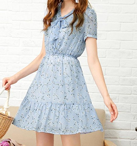 Women's Picture Chiffon Cocktail Waist Elegant High Dress Comfy Printed As RZBPq77w