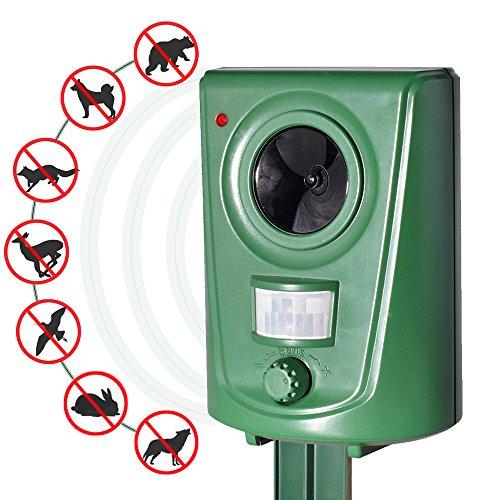 (Ultrasonic Pest Repeller Animal Deterrent Outdoor Electronic Pest Control for Cat Dog Deer Bird Rabbit Raccoon Pigeon Rodent Squirrel)