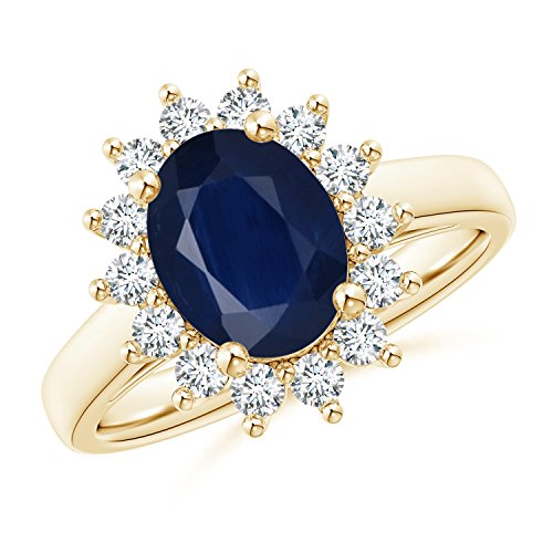 Princess Diana Inspired Blue Sapphire Ring with Diamond Halo in 14K Yellow Gold (9x7mm Blue Sapphire)