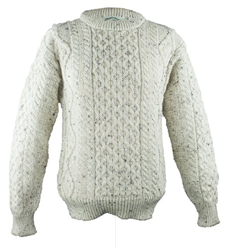 100% Pure New Wool Irish Springweight Sweater (X-Large, Fleck) ()