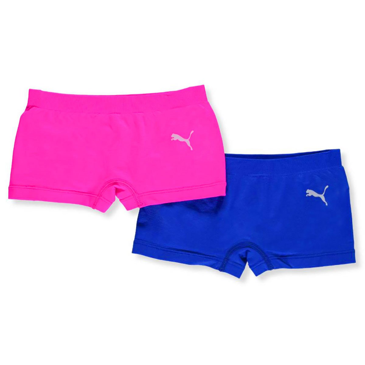 PUMA 2 Pack Girls Boy Shorts Seamless and Tag Free Solid Color Comfort Stretch