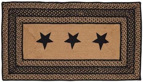 VHC Brands Classic Country Primitive Flooring – Farmhouse Jute Black Stenciled Stars Rug, 27×48,