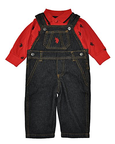 US Polo Assn Baby Boys Red Bodysuit 2pc Denim Overall Set (6/9M)