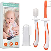 3 Piece Baby Toothbrush Set by Cherish Baby Care - with Infant Finger Toothbrush - Silicone Toothbrush & Toddler…