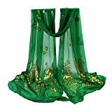 YOMXL Women Peacock Gilded Scarf Shawl Soft Wrap Stole Solid Color Long Scarf Lightweight Head Wrap Shawl Cape (Green)