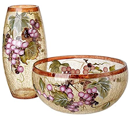 5th Avenue Collection Murano Glass Candypotpourri Bowl And Vaseset