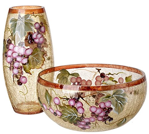5th Avenue Collection Murano Glass Candy/Potpourri Bowl and Vase,Set Of 2 - Grape Wine Décor