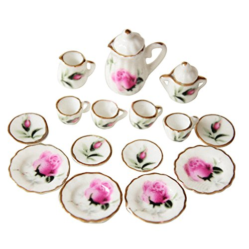 TOOGOO(R) Lot of 15 Rosebud Porcelain Dollhouse Miniature Coffee Tea Cup Set