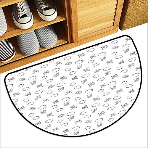 (DILITECK Interior Door mat Airplane Childish Boys Pattern with Little Aeroplanes and Puffy Clouds in Doodle Style Anti-Fading W36 xL24 Black White )