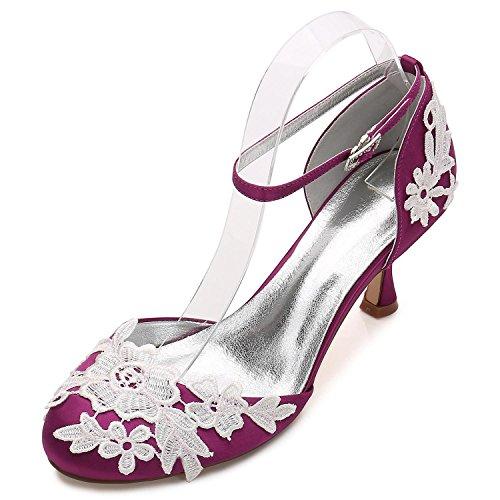 L@YC Frauen-Hochzeits-Schuhe D17061-7 Brautjungfern-Niedrige Ferse-Blumen-Korsett-Satin-Wölbung Schließen Sie Zehen Purple