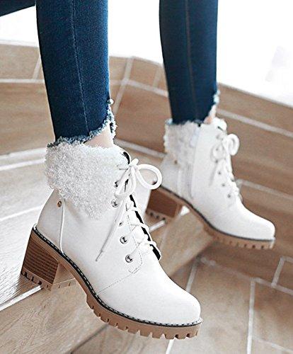 Aisun Womens Fashion Lace Up Inside Zip Up Mid Chunky Tacchi Stivaletti Alla Caviglia Con Cerniera Bianca