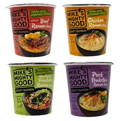 Mike's Mighty Good Craft Ramen Cups 4 Flavor Variety Sampler Bundle, 1 each: Spicy Beef, Chicken, Vegetarian Vegetable, Pork Tonkotsu (1.6-1.9 Ounces)