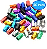 Domain Cycling 40pcs Schrader Tire Valve Caps, Hex Design Multi-Color Anodized Machined Aluminum Alloy Bicycle Bike Tire Valve Caps Dust Covers