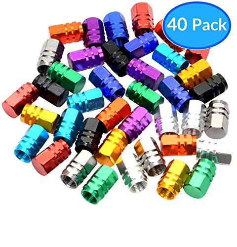 Domain Cycling 40pcs Schrader Tire Valve Caps, Hex Design Multi-Color Anodized Machined Aluminum Alloy Bicycle Bike Tire Valve Caps Dust Covers by Domain Cycling (Image #6)
