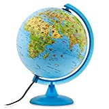 Waypoint Geographic Safari Explorer Animals Globe Illuminated Desktop Globe with Blue Physical Earth & 100'S of Illustrated Animals, 10''