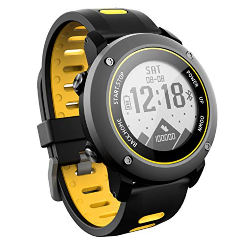 (DRAGONHOO UW90 Rugged Outdoor Sports Smart Watch with Bluetooth Activity Tracker Pedometer Steps Caloires Distance Stopwatch 50M Waterproof for Running Walking Hiking (Yellow))