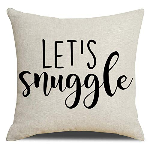 KACOPOL Motivational Sign Inspirational Quote Throw Pillow Cover Cotton Linen Home Decor Colorful Letters Pillowcase Cushion Cover with Word for Sofa Couch 18x18 Inches (Let's Snuggle) (Quotes Pillowcase)